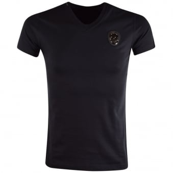 My Brand Black Skull Logo V-Neck T-Shirt