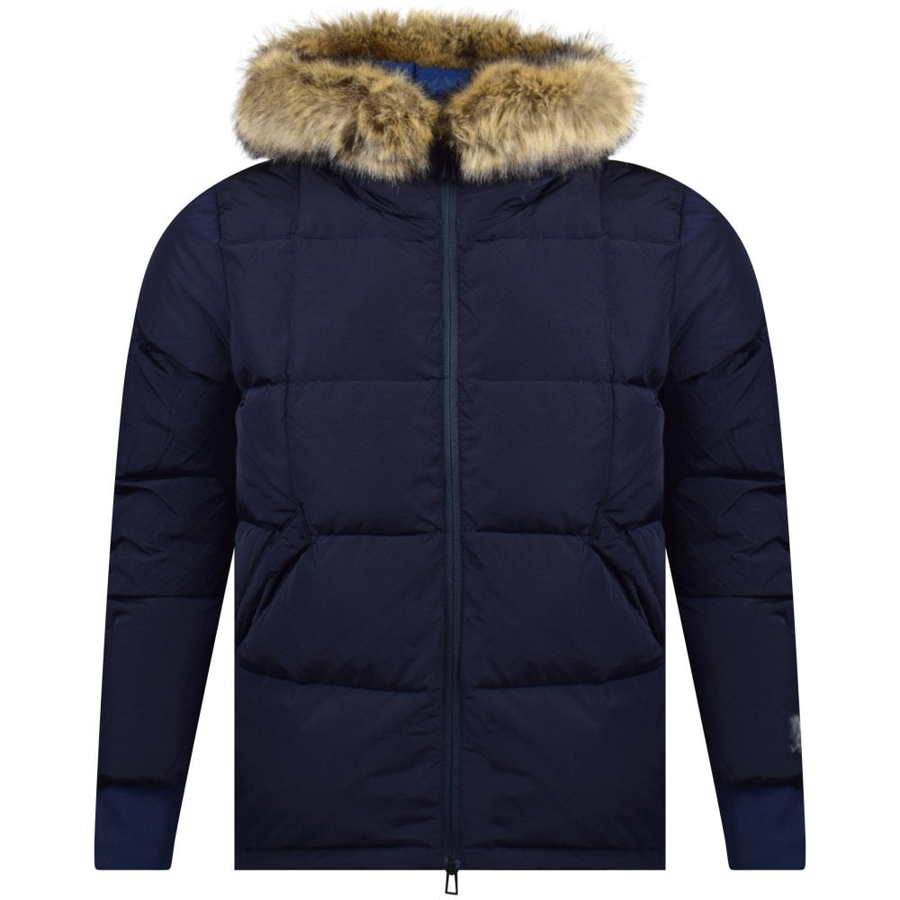 8b96b21e466 PS PAUL SMITH Navy Black Down-Filled Jacket With Fur Faux Hood - Men from  Brother2Brother UK