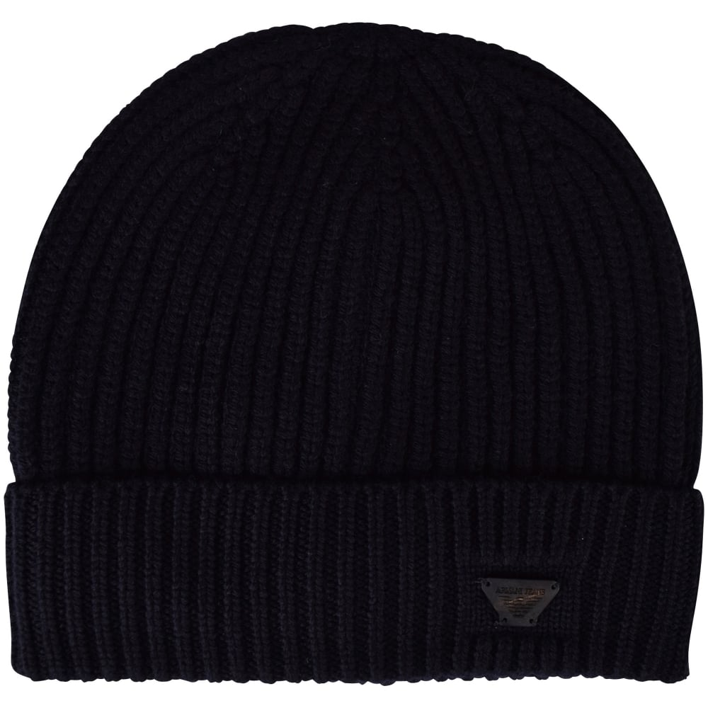 EMPORIO ARMANI Navy Blue Armani jeans Thick Ribbed Beanie - Men from ... a2b2eb1bccf