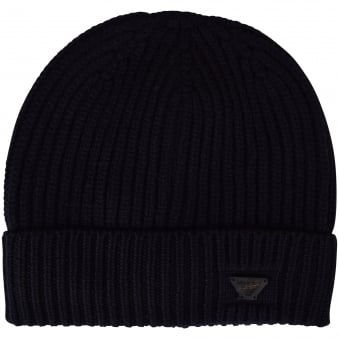 Navy Blue Armani jeans Thick Ribbed Beanie