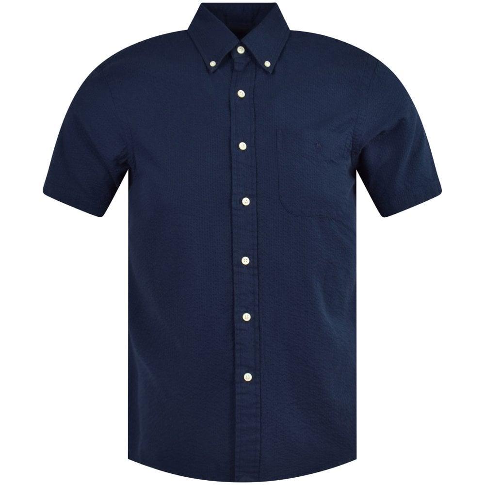 77765a790ac POLO RALPH LAUREN Navy Cotton Seersucker Short Sleeve Shirt - Men ...