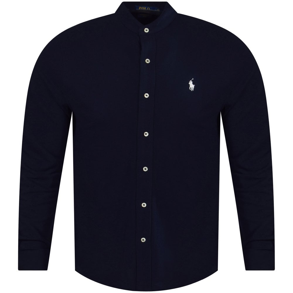 5f6497f6 POLO RALPH LAUREN Navy Featherweight Mesh Grandad Collar Shirt - Men ...