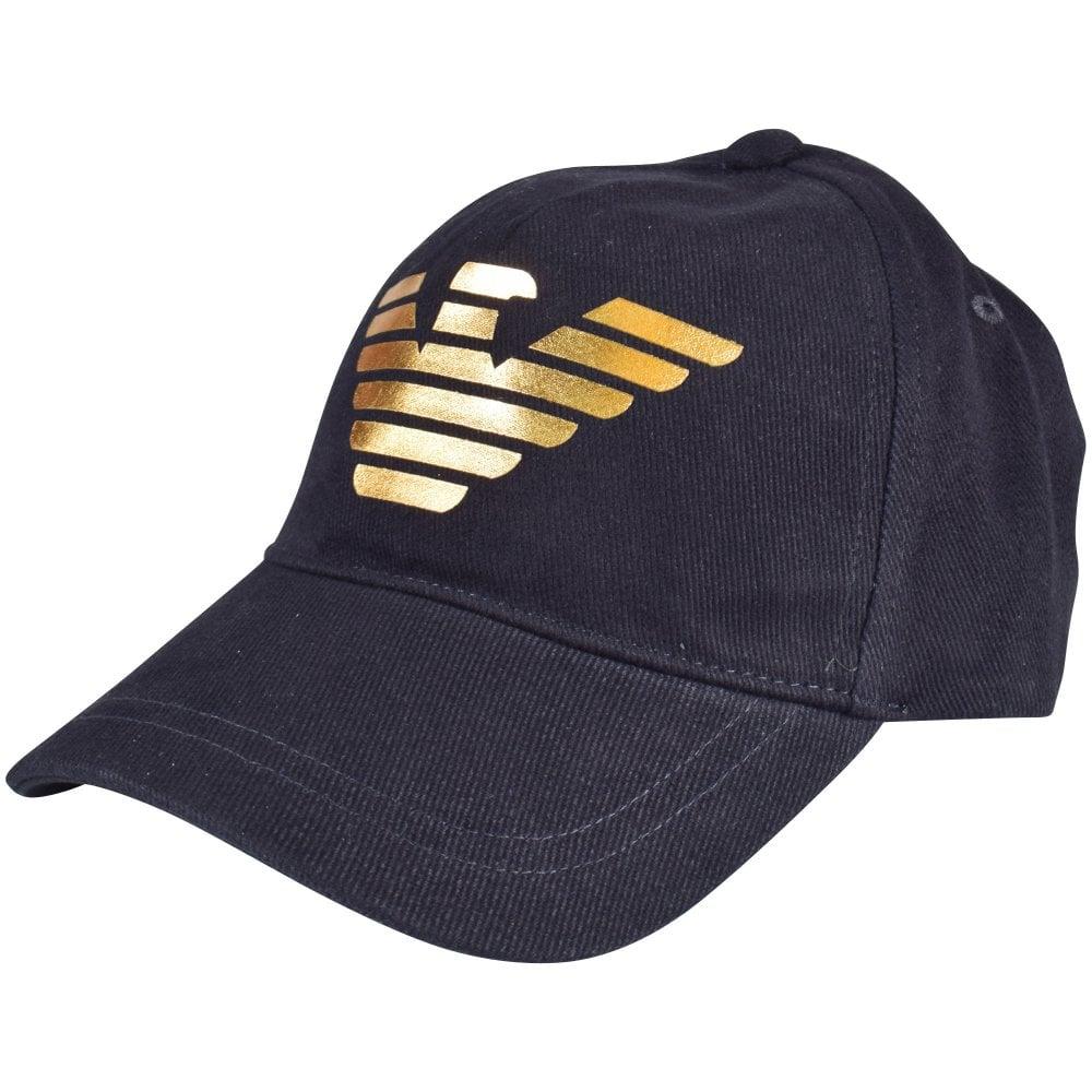 1c7746132db4ae EMPORIO ARMANI Navy/Gold Eagle Baseball Cap - Men from ...