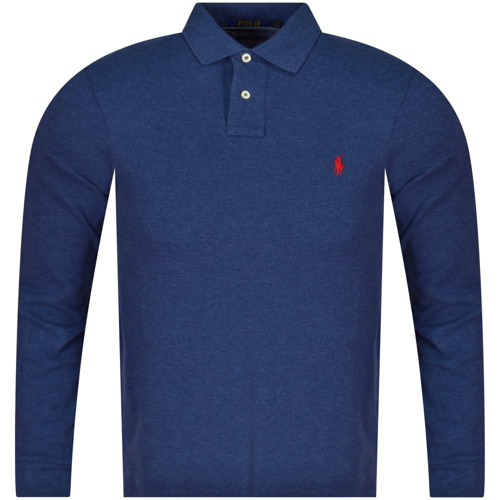 Heather Sleeve Polo Shirt Navy Long RL45qAj3