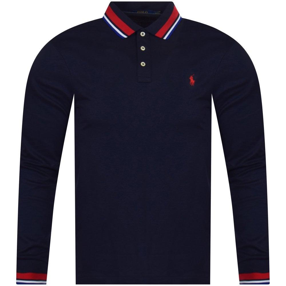 7aabd6a3 POLO RALPH LAUREN Navy Logo Tipped Long Sleeve Polo Shirt - Polo ...