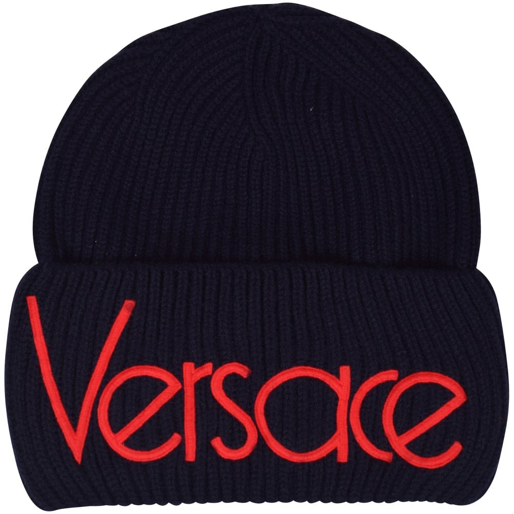 e26ba365 VERSACE Navy/Red Vintage Logo Beanie Hat - Men from Brother2Brother UK