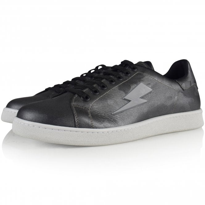 NEIL BARRETT Antracite Thunderbolt Tennis Trainers