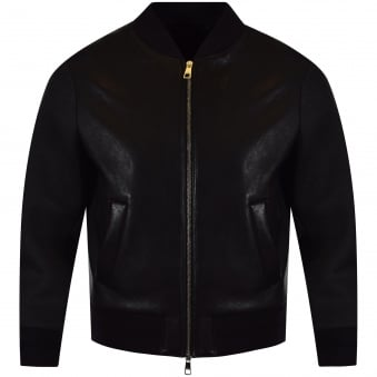 Neil Barrett Black Leather Back Print Bomber Jacket