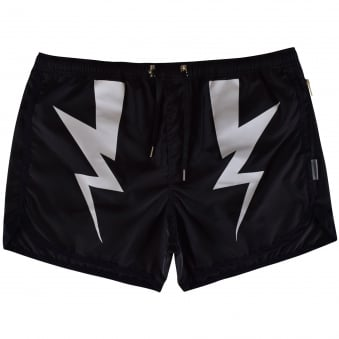 Neil Barrett Black Lightening Bolt Design Swim Shorts
