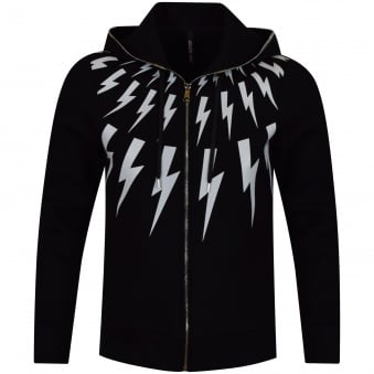 Neil Barrett Black Lighting Bolt Hoodie