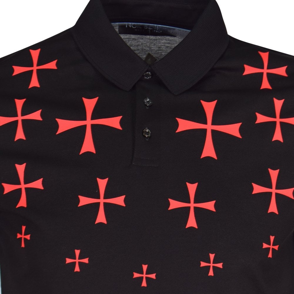 5674b43e9 NEIL BARRETT Black/Red Cross Print Polo Shirt - Department from ...