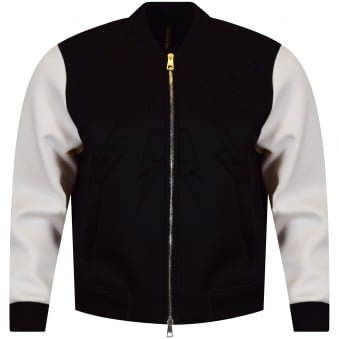 Neil Barrett Black & White Bolt Contrast Bomber Jacket