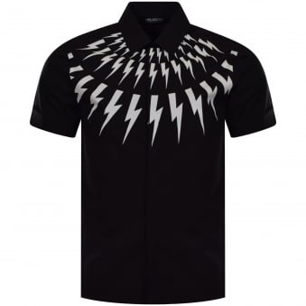 Neil Barrett Black/White Bolt Short Sleeve Shirt