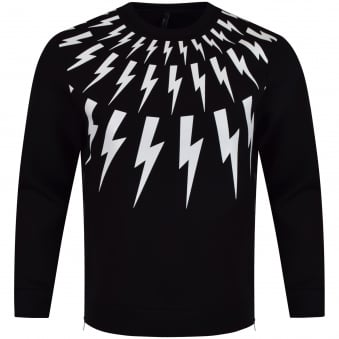 Neil Barrett Black & White Bolt Side Zip Sweatshirt