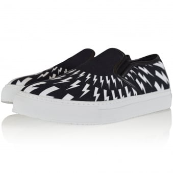 Neil Barrett Black & White Bolt Slip On Trainers