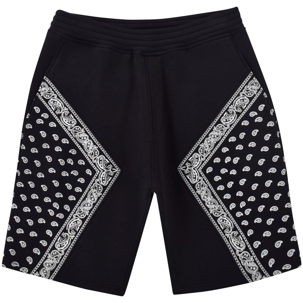 Neil Barrett Neil Barrett Blackwhite Paisley Design Jogger Shorts