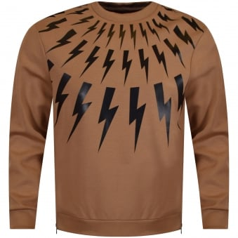 Neil Barrett Camel Bolt Side Zip Sweatshirt