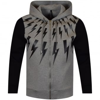Neil Barrett Grey Lightning Bolt Hoodie