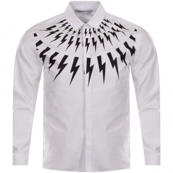 Neil Barrett White/Black Bolt Logo Shirt