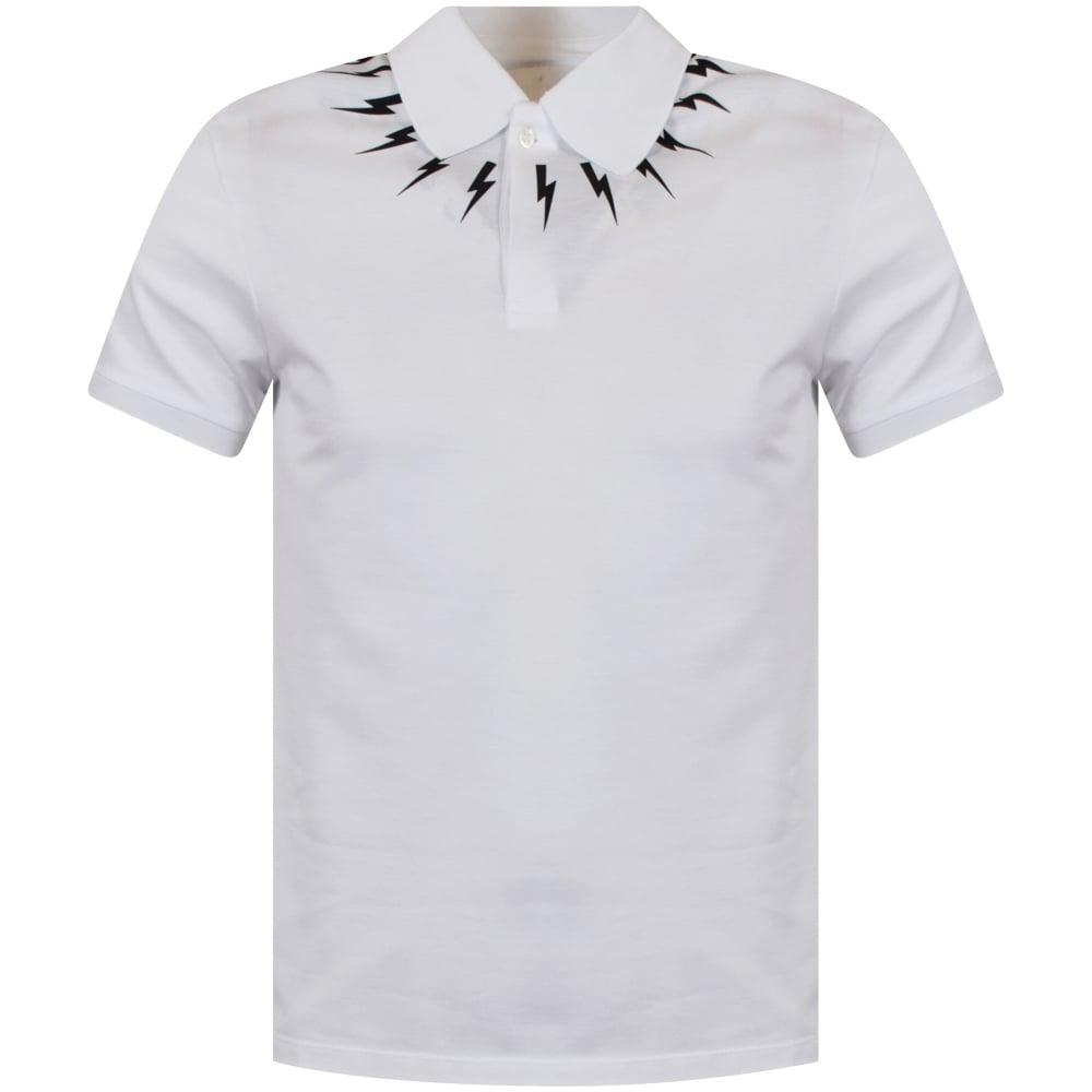 f9860bfac NEIL BARRETT Neil Barrett White/Black Multi Bolt Polo Shirt ...