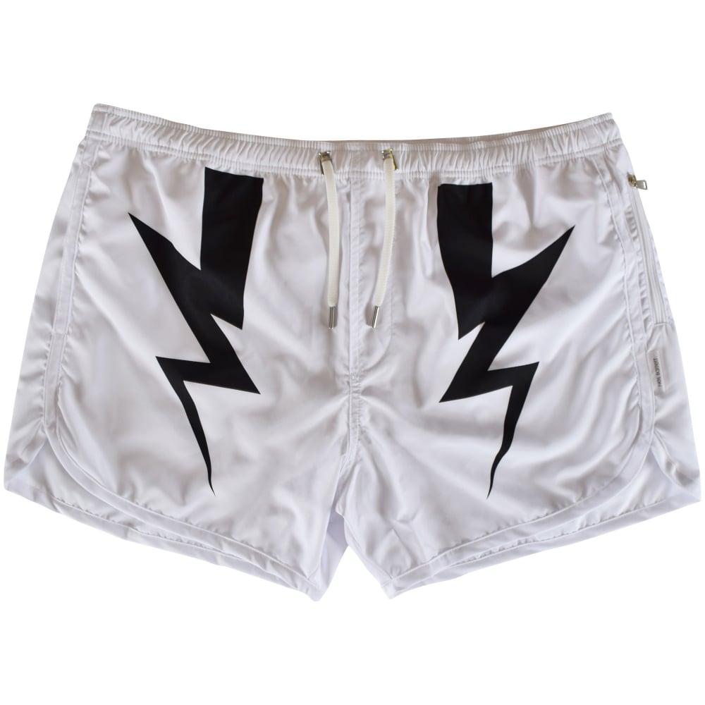 026131f784 NEIL BARRETT Neil Barrett White Lightning Bolt Swim Shorts - Men ...
