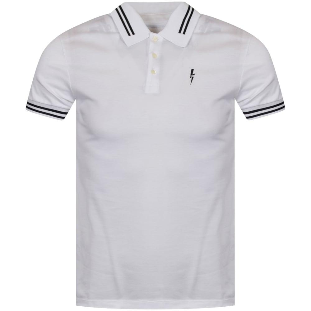 8e3a85d43 NEIL BARRETT Neil Barrett White Short Sleeved Polo Shirt ...