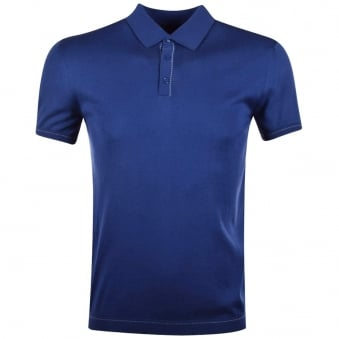Nigel Hall Blue Knitted Polo Shirt