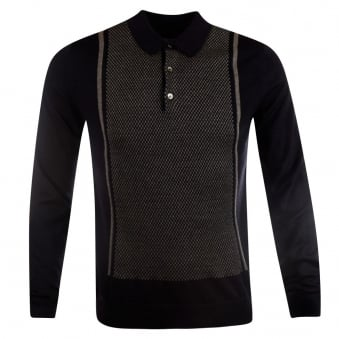 Nigel Hall Navy/Grey Eric Knitted Long Sleeve Polo Shirt