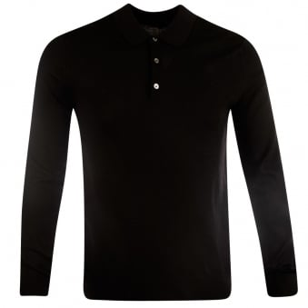 Nigel Hall Black Chase Knitted Long Sleeve Polo Shirt