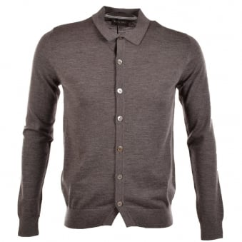 Nigel Hall Dark Grey Percy Button Up Polo Top