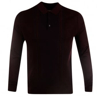 Nigel Hall Plum Penrose Knitted Long Sleeve Polo Shirt