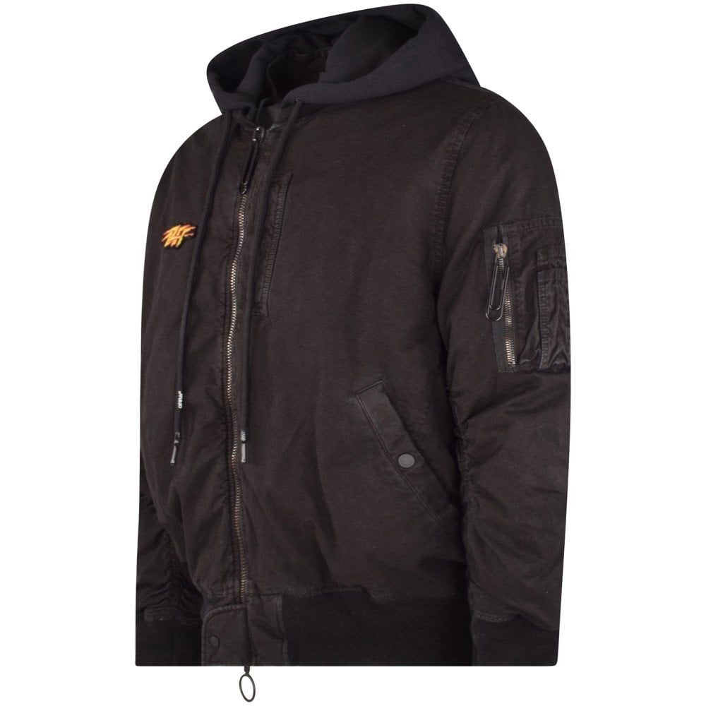 Off White: Black Vintage Bomber Jacket