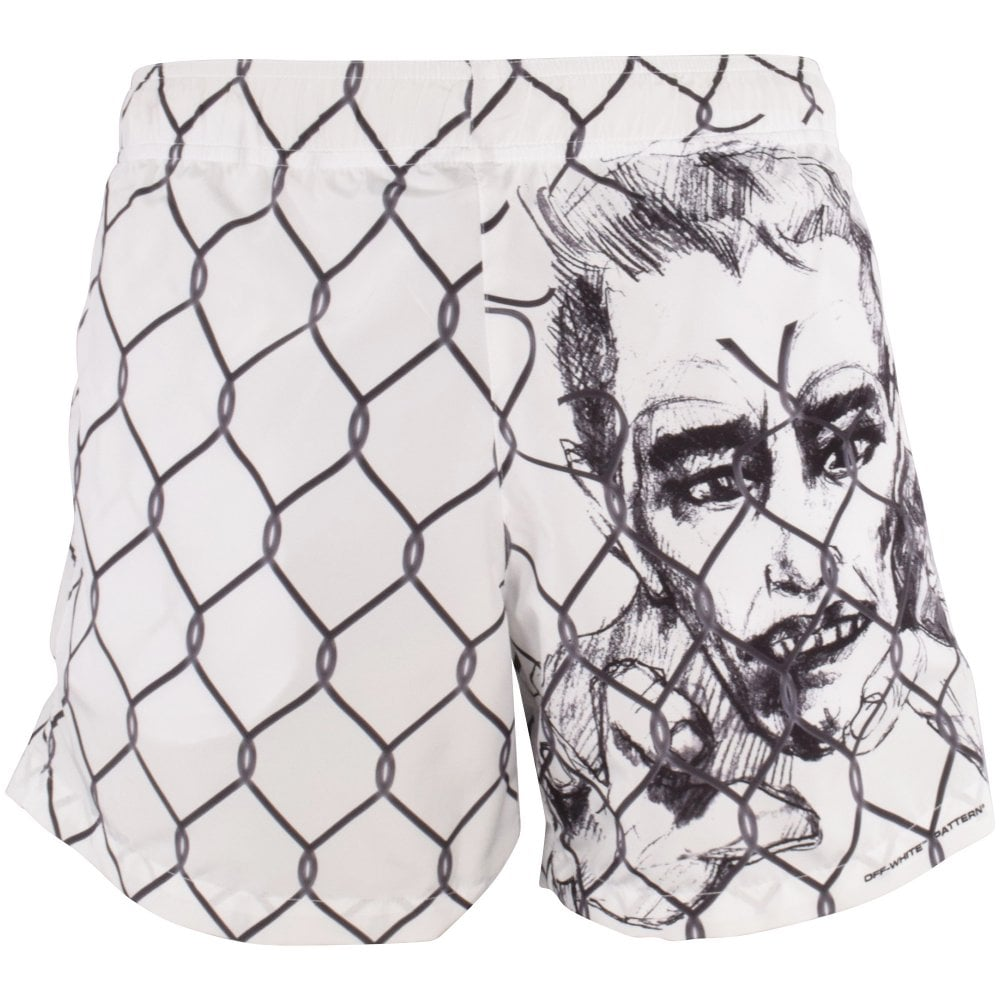 white shorts with chain-link fence and charcoal portrait design