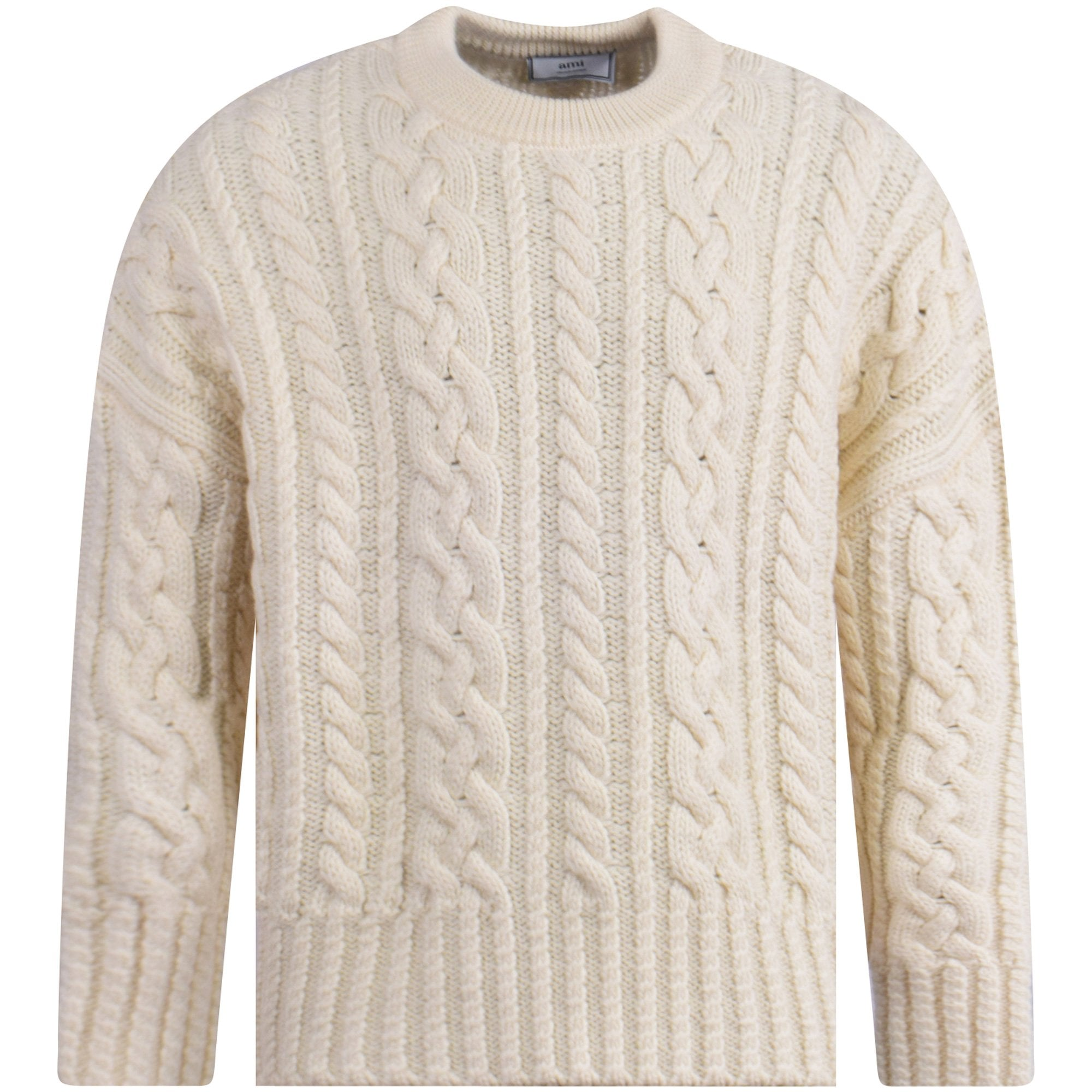AMI PARIS Off White Cable Knit Oversized Jumper