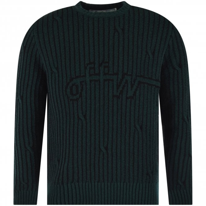 OFF-WHITE Dark Green Striped Logo Knitted Jumper Front