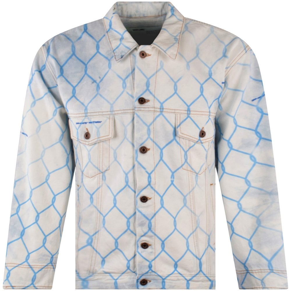 off-white brand bleached denim jacket with chainlink fence print in light blue