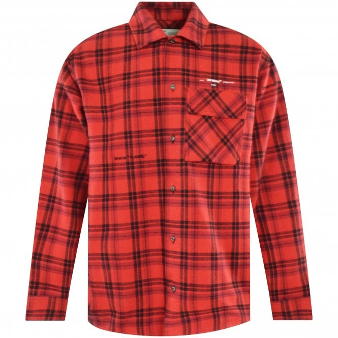 OFF-WHITE Red Flannel Check Shirt Front