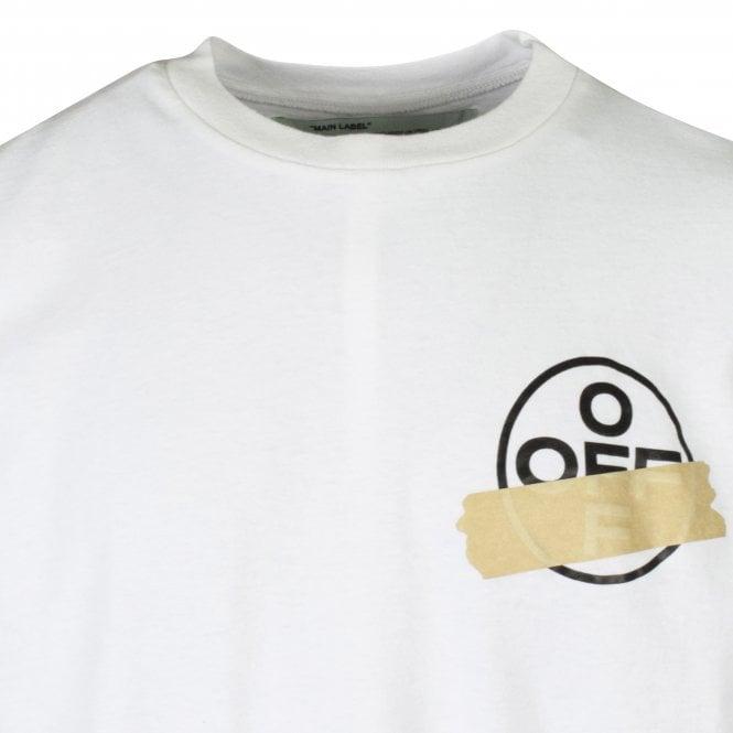 OFF-WHITE White Tape Arrow Print T-Shirt Close