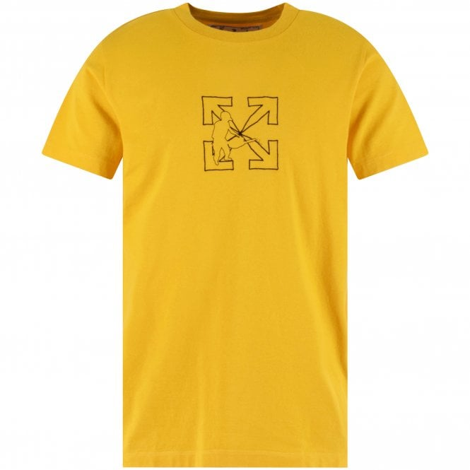 OFF-WHITE Yellow Arrow Workers Slim Fit T-Shirt Front