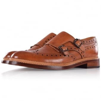 Oliver Sweeney Chestnut Brantham Monk Strap Brogue Shoes