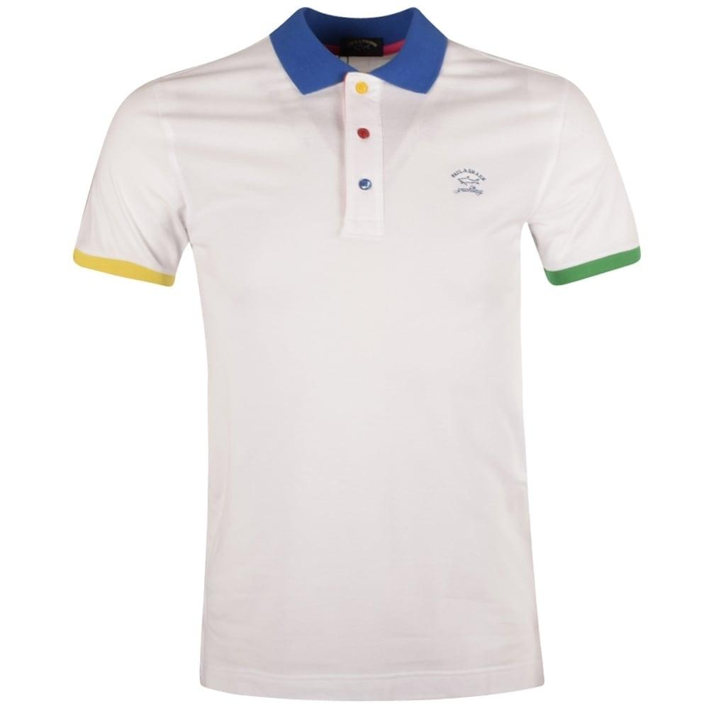 6bba78a5 PAUL & SHARK Paul & Shark White Contrast Short Sleeve Polo Shirt ...