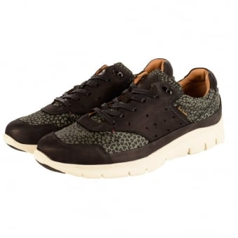 Paul Smith Black/Green Leopard Print Trainers