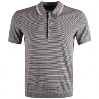Paul Smith Black Stripe Knitted Polo Shirt