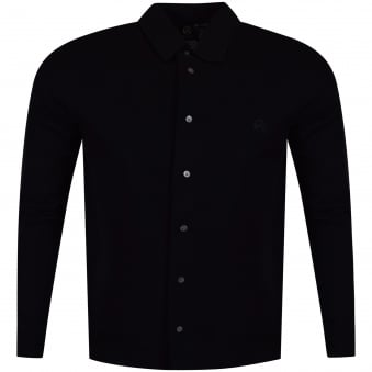 Paul Smith Jeans Black Button Long Sleeve Logo Polo Shirt