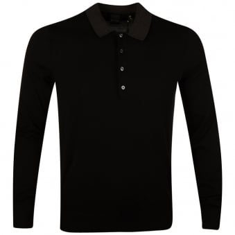 Paul Smith Jeans Black Long Sleeve Knitted Polo Shirt