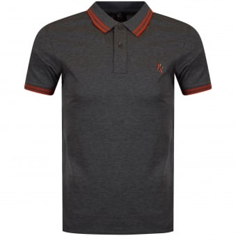 Paul Smith Jeans Grey/Orange Logo Polo Shirt
