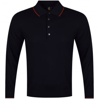 Paul Smith Jeans Navy Knitted Long Sleeve Polo Shirt