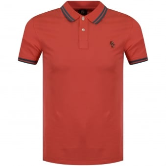 Paul Smith Jeans Peach/Green Logo Polo Shirt