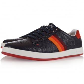 Paul Smith Junior Navy Leather Stripe Logo Trainers