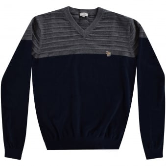Paul Smith Junior Navy Two Tone V Neck Sweatshirt